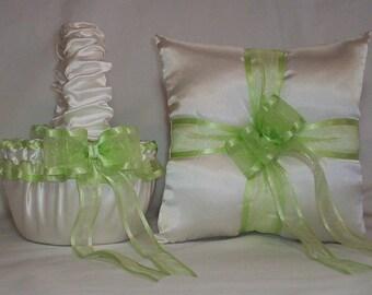 Ivory Cream Satin With Light Green  Ribbon Trim Flower Girl Basket And Ring Bearer Pillow