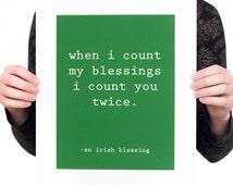 Irish Blessing Print (Mat included, Various Color Options) Irish Home Decor, Irish Quote Print