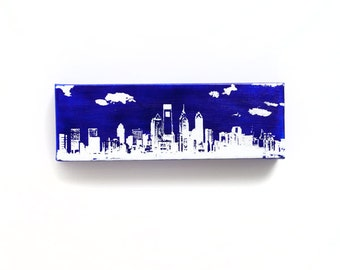 Philadelphia Skyline II Canvas (12 x 4 inches, Blue with White) Screenprint/Painting, Philadelphia Home Decor