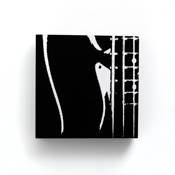 Music Wall Art 6 x 6 Electric Bass Guitar Wood by iNKthePRINT