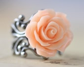 Rose Ring Peach Flower Rings Silver Bridesmaids Gift Wedding Jewelry