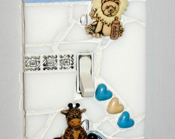 Mosaic Single Light Switch Cover / Wall Plate NURSERY THEME Baby Boy Blue