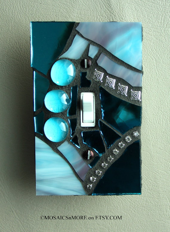 Blue Ice Mosaic Light Switch Cover Wall Plate