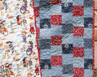 Western Baby Quilt Cowgirl Blanket Nursery Bedding Red Blue Bandana Crib Patchwork Girl Horse Country Decor