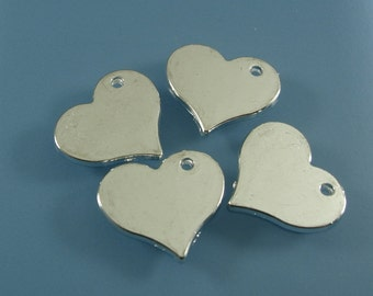 5pcs- Silver Plated Alloy  Stamping Blanks Charms, Heart 20x22mm.