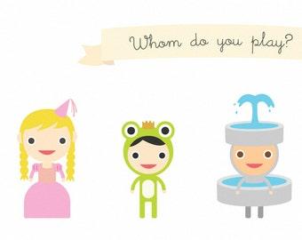 The Frog Prince Peek-A-Play Art Print 16 x 9 // Kids Wall Art Nursery Room Decor // School Play Fairy Tale Characters