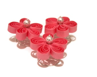 Cherry Blossom Wedding Hair Pins, Pink Bridal Hair Flowers, Pink Flower Hair Spirals