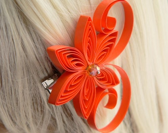 Pumpkin Wedding Hair Clip, Orange Wedding Hair Accessory