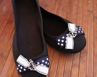 Olivia Paige -Anchor polka dot  Bows  shoe Clips   Pin up