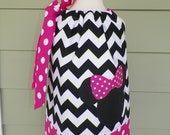 Girls minnie mouse pillowcase dress black and white chevron,hot pink polka dots Riley Blake Michael Miller fabrics custom made Baby Harrill
