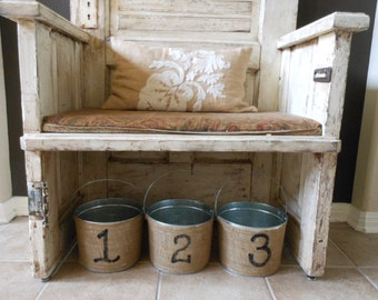 3 burlap Buckets 1,2, & 3 Buckets  painted with numbers 1-3/ 5 Qt Handpainted BUCKET
