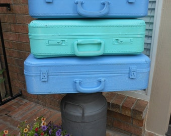Vintage suitcases stack of 3 painted in your custom colors luggage theme wedding travel photo shoot