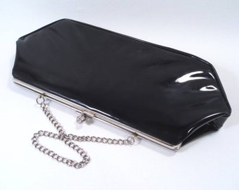Sale 25% Off Use Coupon Code SAVE25 // Black Clutch Purse with Chain Vintage 50s
