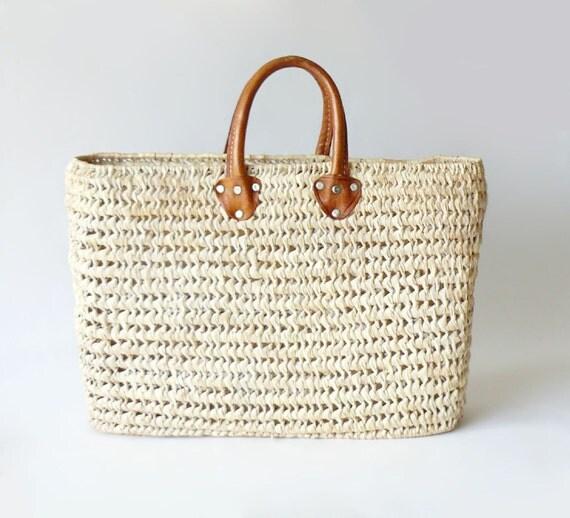 Handmade Market Baskets : Vintage euro style handmade woven market basket vachetta