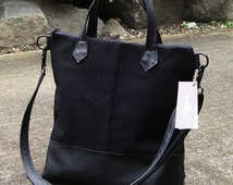 Medium Black heavy Waxed Canvas and Leather Tote Bag utility bag - Laurel Dasso