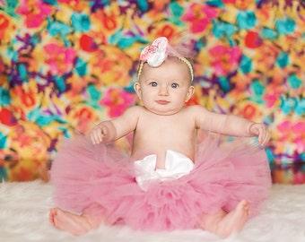 Full Beautiful Pink Mauve NB to 2t Tutu with Headband SEWN