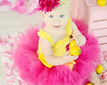 Adorable Tutu Romper and Headband Rose Set NB to 2t SEWN