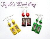 Personalized Polymer Clay Candy / Chocolate Bar Earrings - inspired by chocolate packs - Made to Order