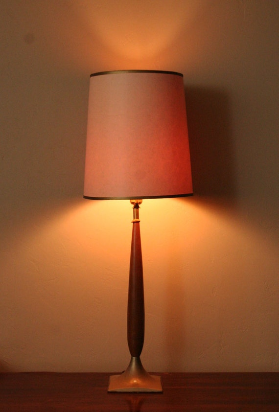 Working Vintage Table Lamp with Original Shade - Mid Century Modern, Danish Style - Tall