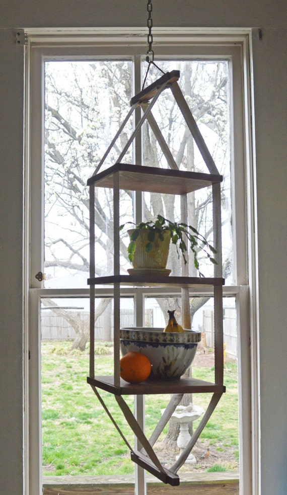 Summer sale large vintage hanging shelf wood canvas strap - How to hang plants in front of windows ...