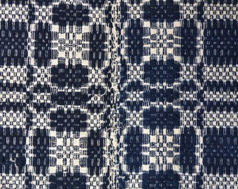 1850s Blue and White Overshot Coverlet