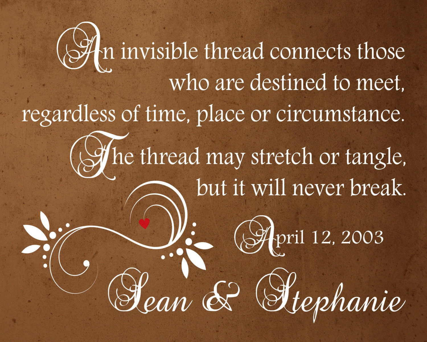 Invisible Thread Custom Love Quote Personalized Engagement