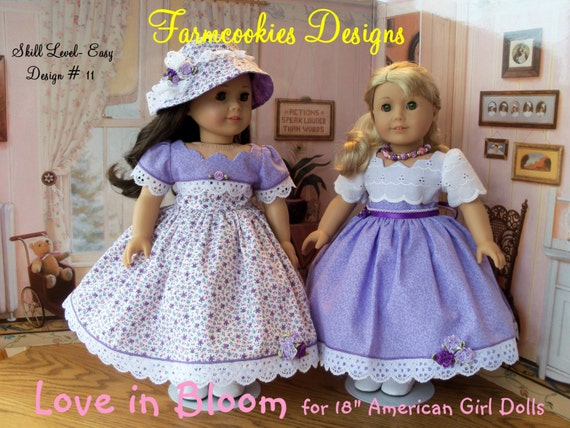 "PRINTED Sewing Pattern / Love In Bloom / Sewing Pattern for  18"" American Girl  Dolls"