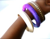 Purple Crocheted  Yarn Wrapped Bracelet Ombre Bangle Purple Pink Blue - LaNomRahDesigns