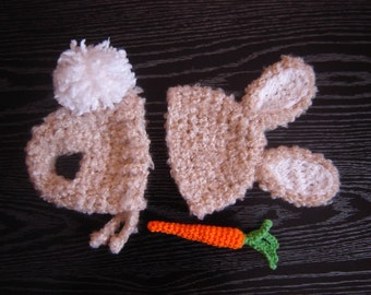 PDF Instant Download Easy Crochet Pattern No 269 Bunny Set With a Carrot photo prop sizes preemie, newborn. 0-3, 3-6 months