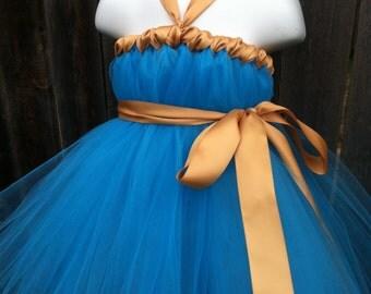 Adult Merida Costume- Brave Inspired Tutu Dress with Golden Satin Sash