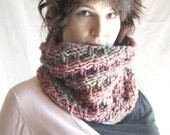 Hand knit Cowl extra chunky luxury merino multi colored pinks purples and blue greens