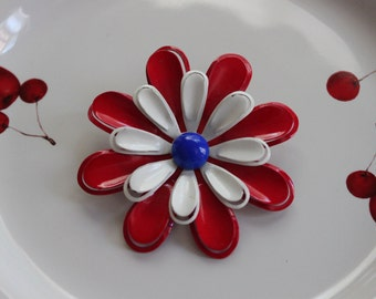 Vintage Brooch, Pin, Flower Brooch, Daisy Pin, Retro Floral Jewelry, Patriotic Jewelry, Red White and Blue, Fourth of July