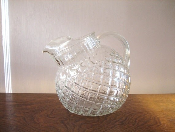 Vintage Depression Glass Ball Pitcher Clear By