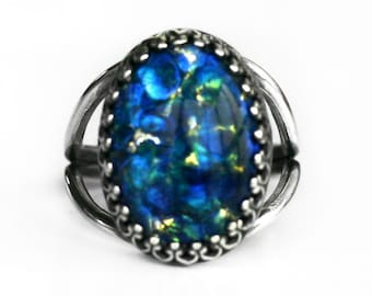 Blue Sea Opal Ring - Adjustable 5-10