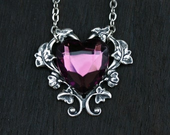 Heart Necklace with Purple Stone