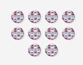 10 pcs 12mm Glass Cabochons, Cake, Cupcake, Sweet, Round, Image Cabochons, A38-11-301