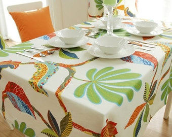 Tablecloth Summer Palm Tree Flowers Rectangle Square Round Dinner,Party,Wedding,Kitchen Table-Cotton Custom Runner,Pillow case,GET FREE GIFT