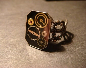 Steampunk Gear and Watch Part  Ring in Antique Silver (1049)
