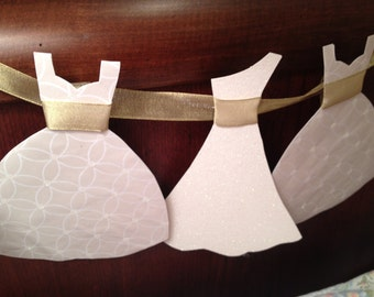 Wedding Dress Garland Paper Bridal Shower Decoration Sparkly White and Gold