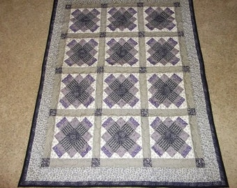 Purple and Black Medallion Patchwork Quilt