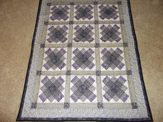 Purple and Black Medallion Patchwork Quilt