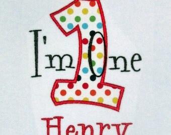 Boy First Birthday- I'm One Rainbow Polka dots
