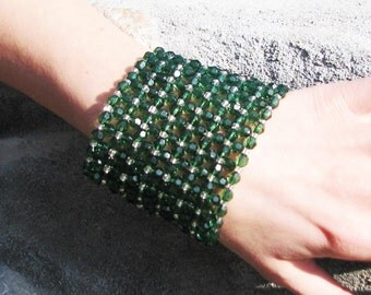 Green... silver... Beadwork Beaded Jewelry / bracelets Cuff with green, silver, Fire-Polished acrylic Beads