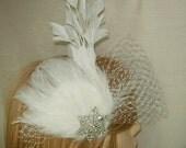 White feather fascinator,Derby hat,Derby fascinator,summer fascinator.Bridal fascinator, feather hair fascinator, rhinestone brooch