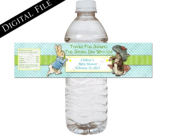 Peter Rabbit Baby Shower Water Bottle Wrappers - Digital, Printable