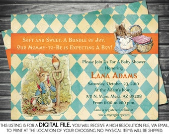 Boy Baby Shower Invitation - Peter Rabbit Theme,  Argyle, Blue, Orange, Printable, Digital