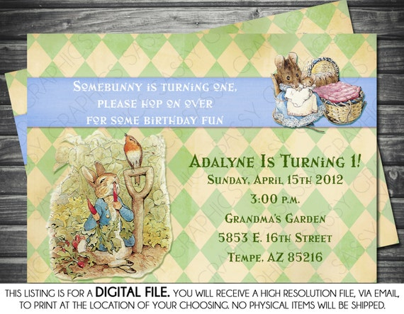 peter rabbit boy birthday invitation blue green argyle, Birthday invitations
