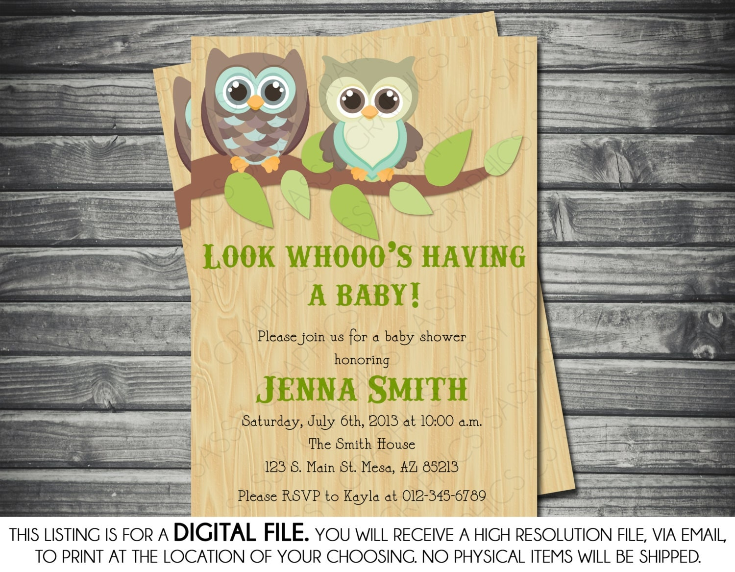 gender neutral baby shower invitation owl by sassygraphicsdesigns