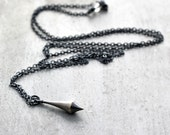 Silver Pendulum Necklace, Minimalist Oxidized Sterling Silver Long Chain Necklace Simple Boho - Synchronicity