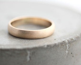 Gold Men's Wedding Band, Brushed Men's or Women's Unisex 4mm Low Dome Recycled Metal 10k Yellow Gold Ring - Made in Your Size